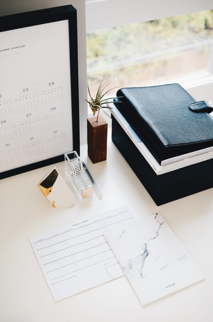 Organized workspace with planner and small plant